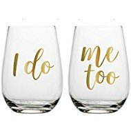 I do married me too marriage newly weds wedding marriage wine glasses stemless gold foiled fancy drinkware barware partyware gift gifting ideas