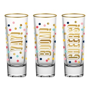shots shot glasses shot cups yay boom cheers party birthday partyware barware bar cart hostess drinking wild drinker celebration confetti