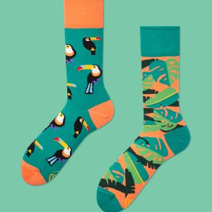 These tropical heat mismatched socks feature on-trend toucans and colors to make the perfect birthday present for your best friend or coworker. dress socks gifts for him father's day gifts dress shoe
