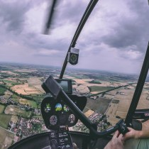 Helicopter flying lesson pilot. Doncaster Airport