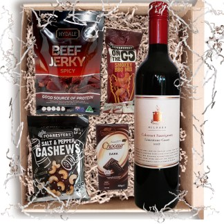 Gift For Men Red Wine Beef Jerky Nuts And Chocolate Food Hamper