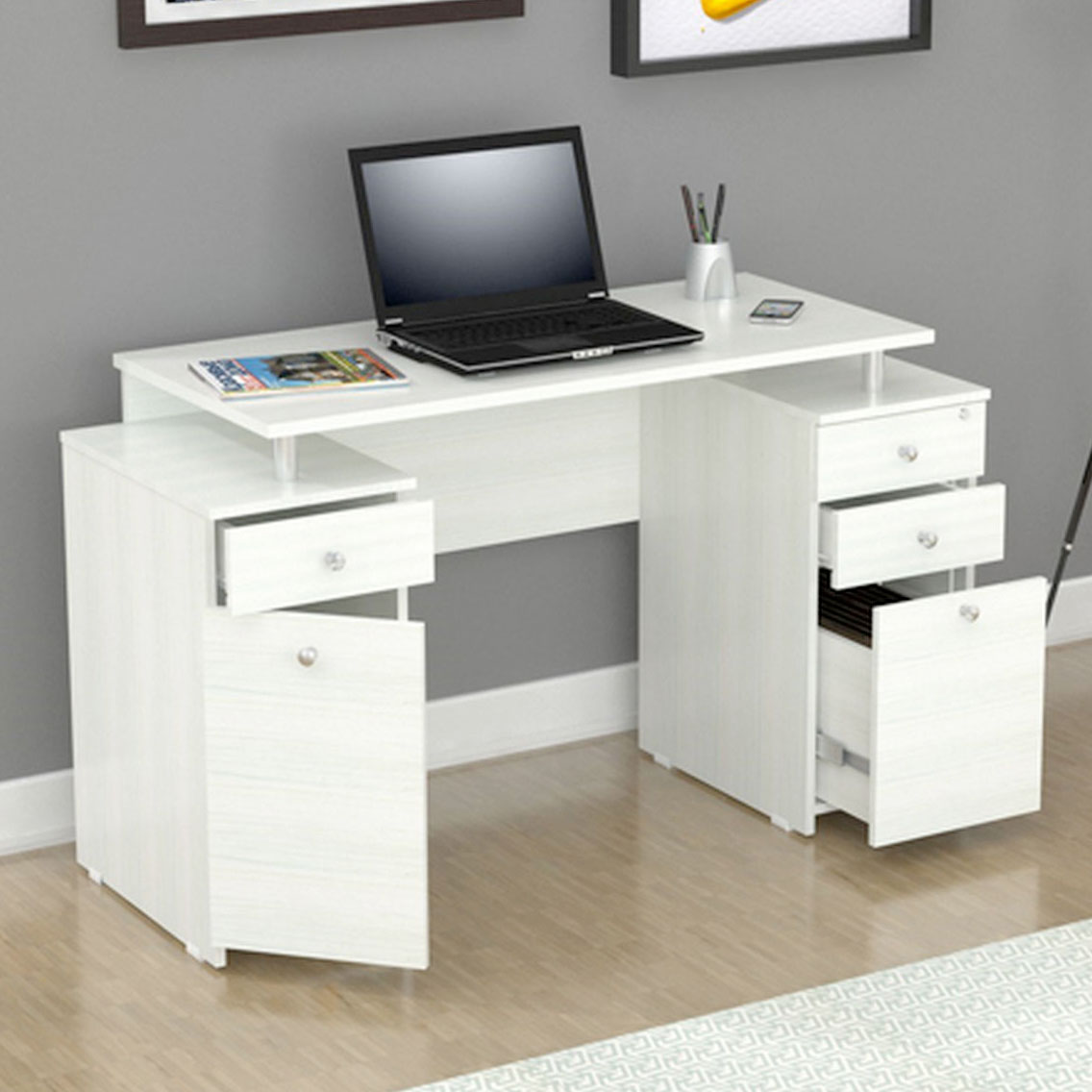 White Writing Desk with Drawers  Storage  Gift Ideas for
