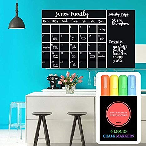 Wall Calendar Chalkboard Decal (with Liquid Chalk Markers and Eraser)