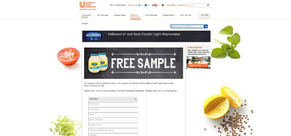Free Hellmann's® and Best Foods® Light Mayonnaise Sample1