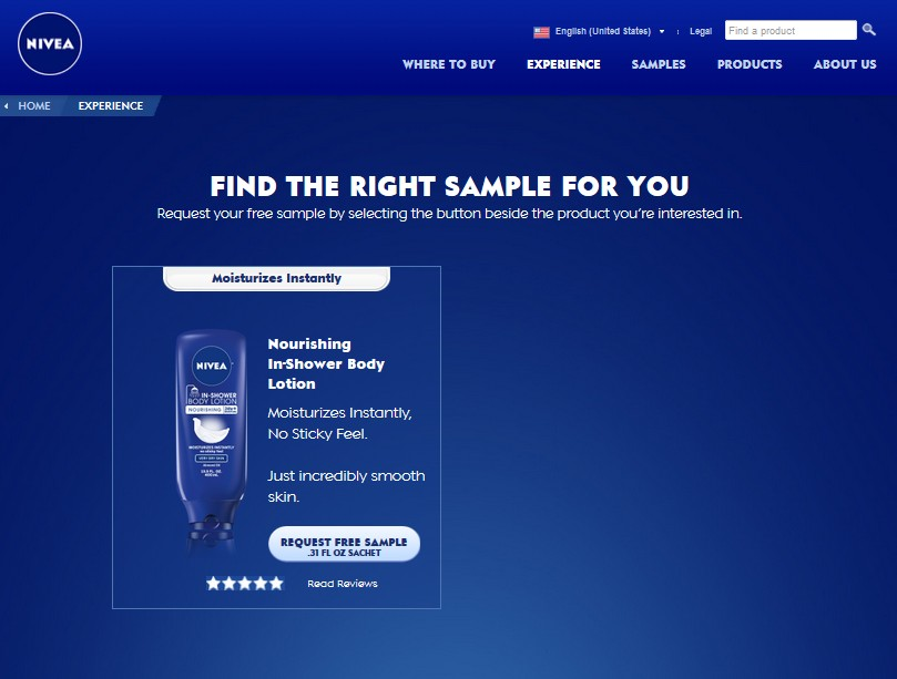 Nivea USA Free Nourishing In-Shower Body Lotion Sample