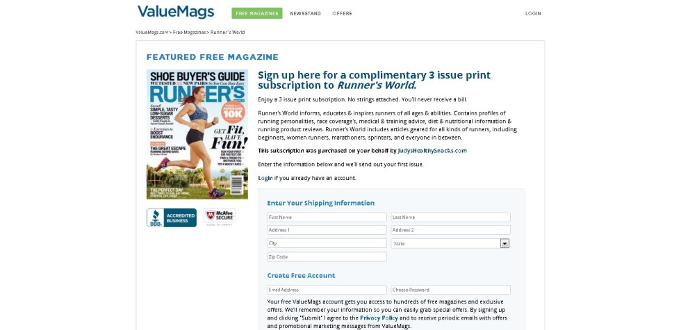 Complimentary 3 Issue Print Subscription to Runner's World Form