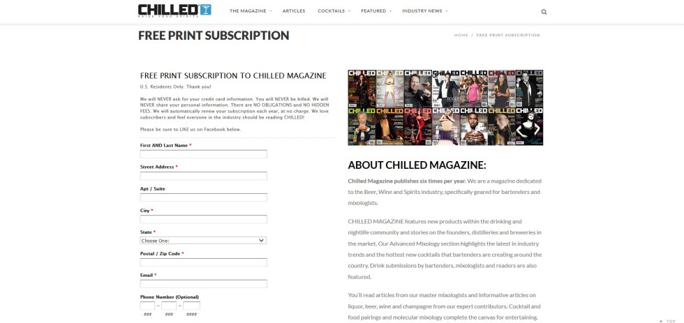 Free Chilled Magazine at ChilledMagazine.com USA Form