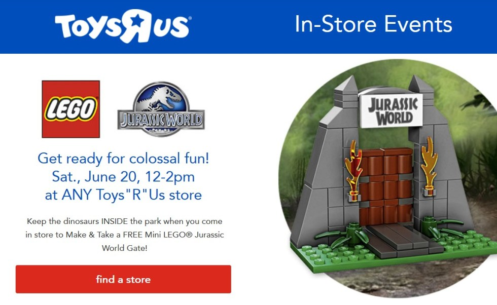 Take a FREE Mini LEGO® Jurassic World Gate 1