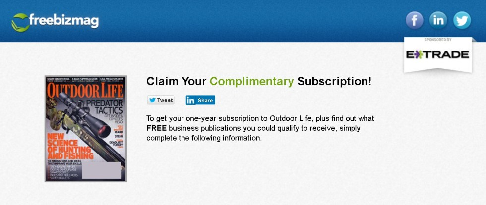 Complimentary Subscription to Outdoor Life Magazine at Freebizmag (2)