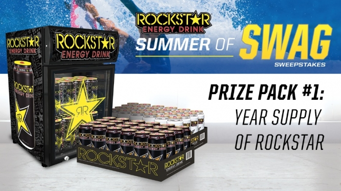 Enter to win a Rockstar Prize Pack including a year supply of Rockstar and a Rockstar mini fridge!