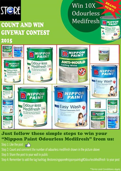 Estore Singapore's Nippon Paint Odourless Medifresh Count and Win Giveaway Contest