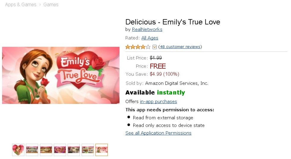 Free Android App at Amazon Delicious - Emily's True Love (2)