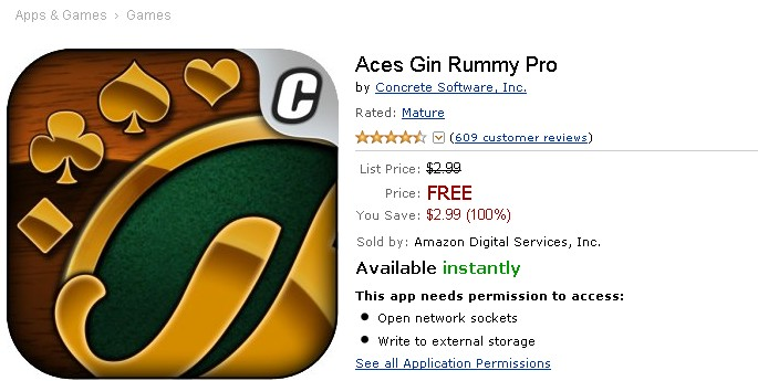 Free Android Game at Amazon Aces Gin Rummy Pro
