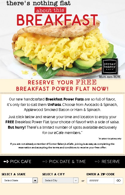 Free Breakfast Power Flat now at Corner Bakery Cafe