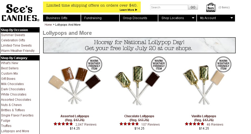 Free Lolly on 20 July at See's Candies- National Lollypop Day