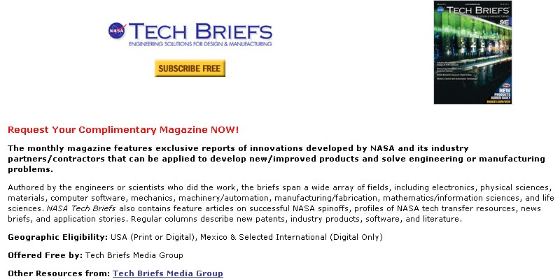 Free NASA Tech Briefs Magazine