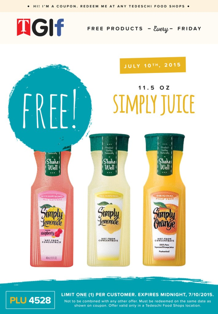 Free Simply Juice at Tedeschi Food Shops