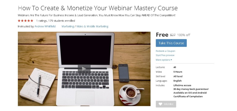 Free Udemy Course How To Create & Monetize Your Webinar Mastery Course