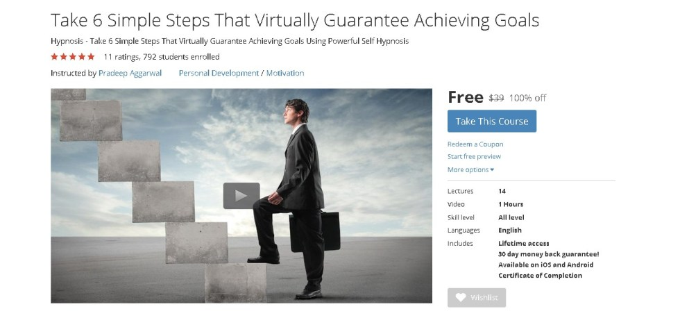 Free Udemy Course Take 6 Simple Steps That Virtually Guarantee Achieving Goals 1