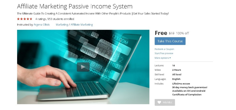 Free Udemy Course on Affiliate Marketing Passive Income System