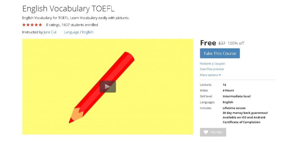 Free Udemy Course on English Vocabulary TOEFL