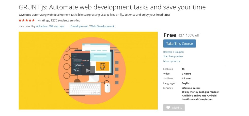 Free Udemy Course on GRUNT js Automate web development tasks and save your time
