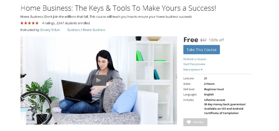 Free Udemy Course on Home Business The Keys & Tools To Make Yours a Success!