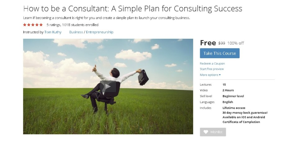 Free Udemy Course on How to be a Consultant A Simple Plan for Consulting Success