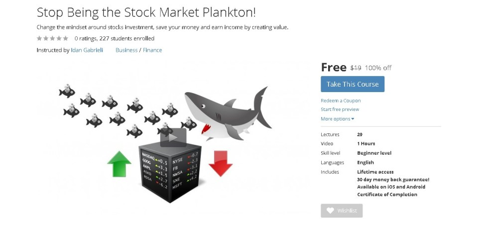 Free Udemy Course on Stop Being the Stock Market Plankton!