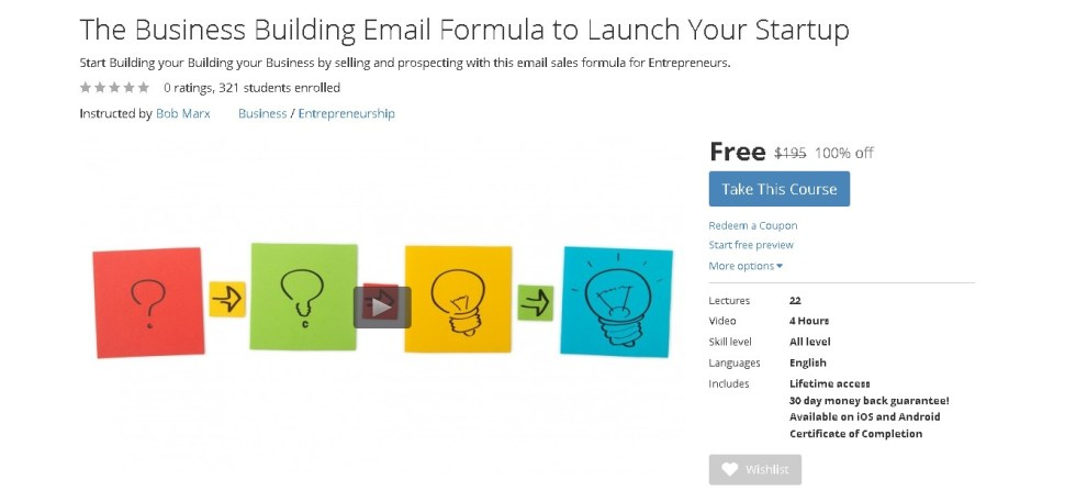 Free Udemy Course on The Business Building Email Formula to Launch Your Startup