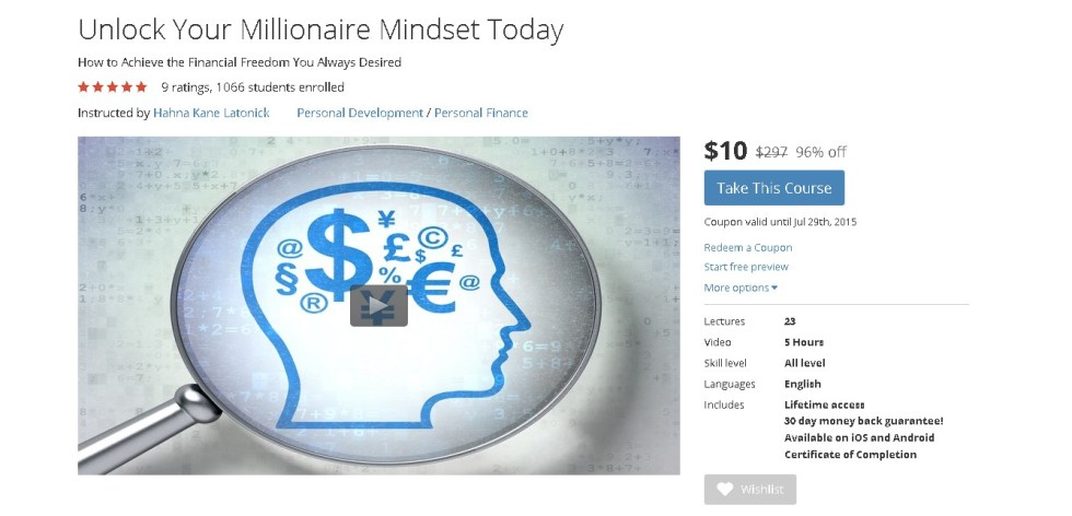 Free Udemy Course on Unlock Your Millionaire Mindset Today