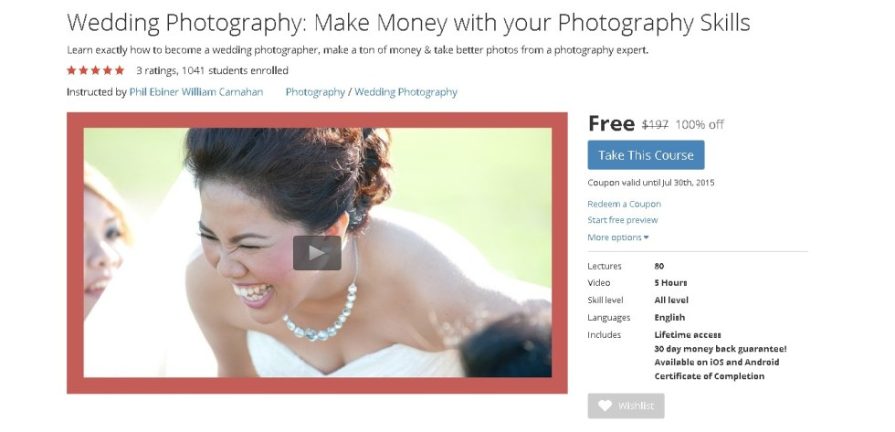 Free Udemy Course on Wedding Photography Make Money with your Photography Skills