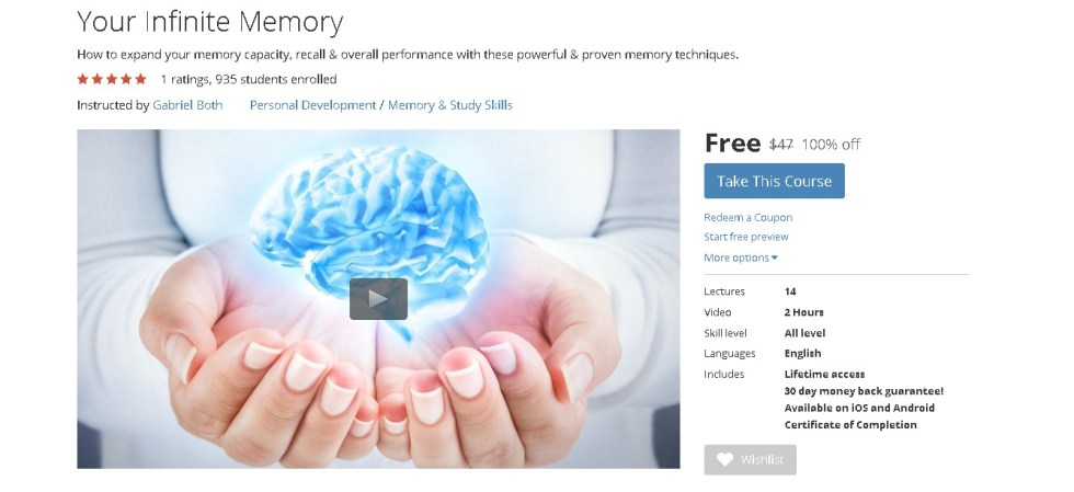 Free Udemy Course on Your Infinite Memory 1