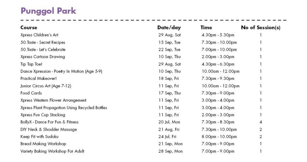 In Celebration of SG50 & PA Community Day Free Courses at Punggol Park CC Singapore