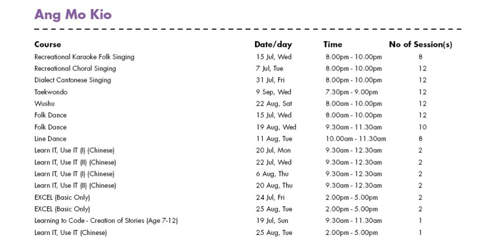 SG50 & PA Community Day Giveaway Free Courses at Ang Mo Kio CC Singapore Schedule