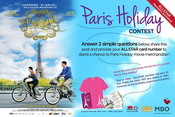 Stand a Chance to win Paris Holiday Movie Merchandise at MBO Cinemas