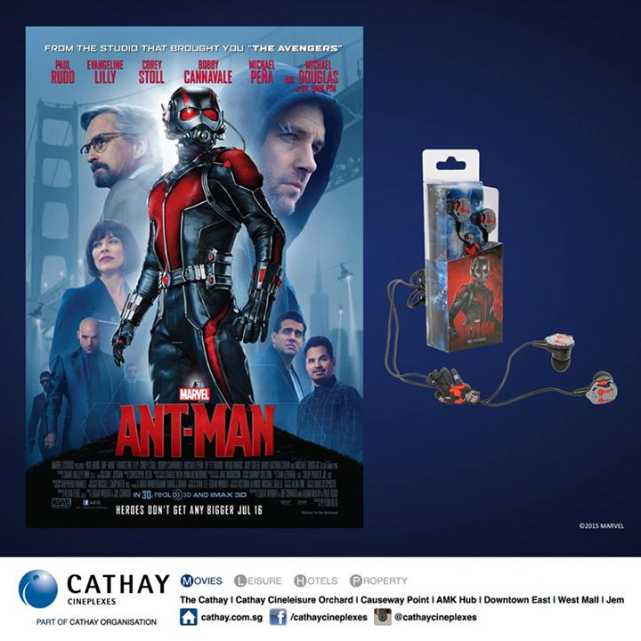 Stand a chance to win MARVEL's ANT-MAN earphones at Cathay Cineplexes Singapore