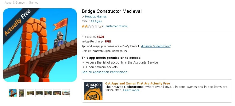 FREE Bridge Constructor Medieval at Amazon 1