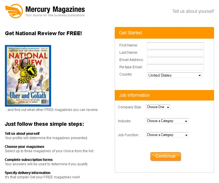 FREE National Review Magazine at Mercury Magazines USA  FORM