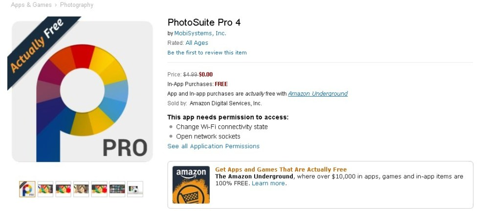 FREE PhotoSuite Pro 4 at Amazon