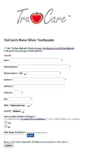 FREE TruCare's Nano Silver Toothpaste in Malaysia FORM