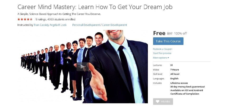 FREE Udemy Course on Career Mind Mastery Learn How To Get Your Dream Job