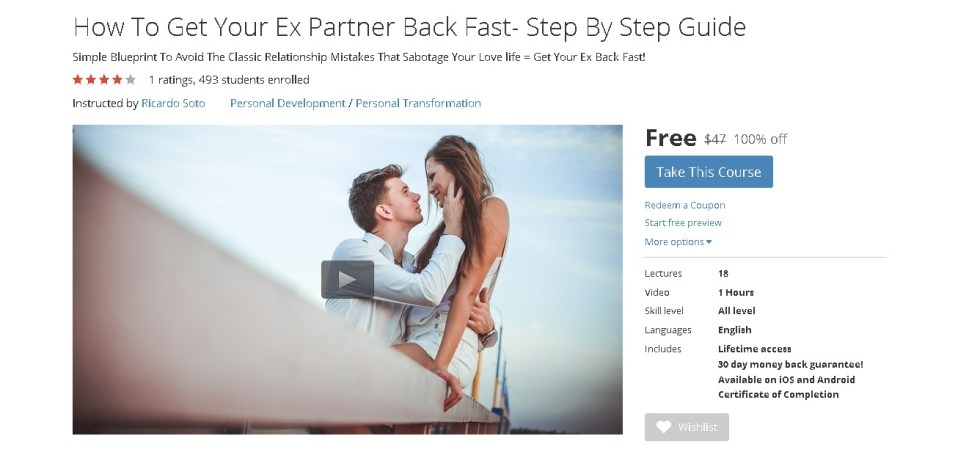 FREE Udemy Course on How To Get Your Ex Partner Back Fast- Step By Step Guide