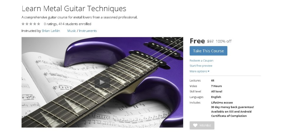 FREE Udemy Course on Learn Metal Guitar Techniques