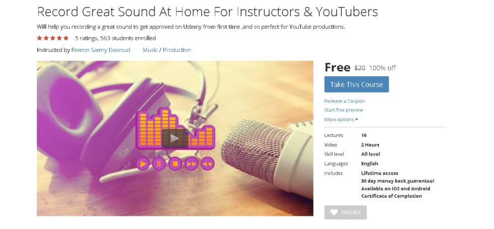 FREE Udemy Course on Record Great Sound At Home For Instructors & YouTubers 1