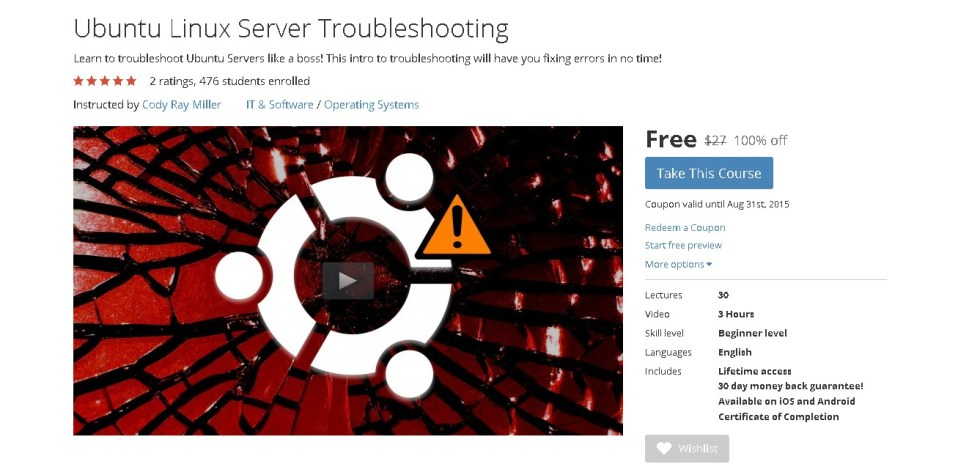 FREE Udemy Course on Ubuntu Linux Server Troubleshooting