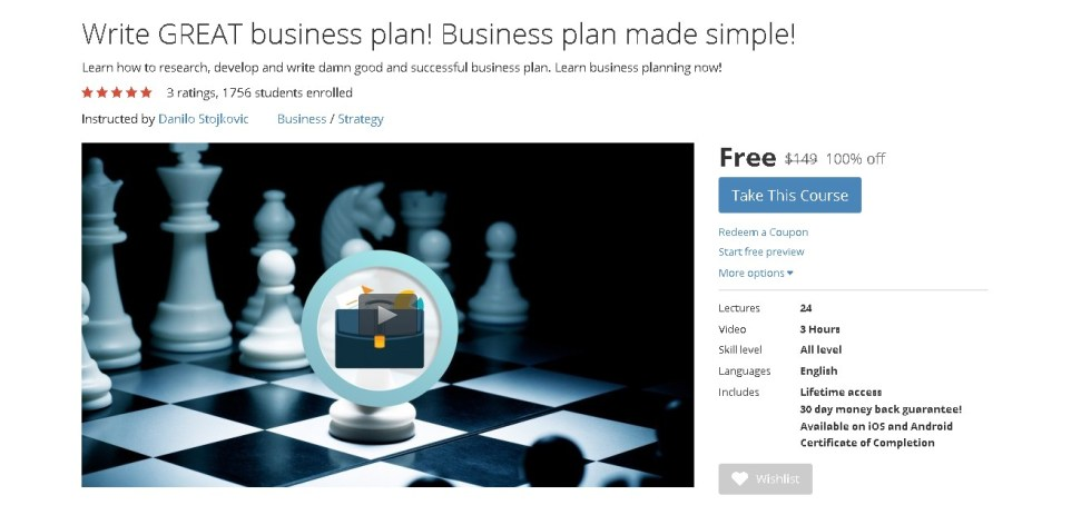 FREE Udemy Course on Write GREAT business plan! Business plan made simple!  (2)