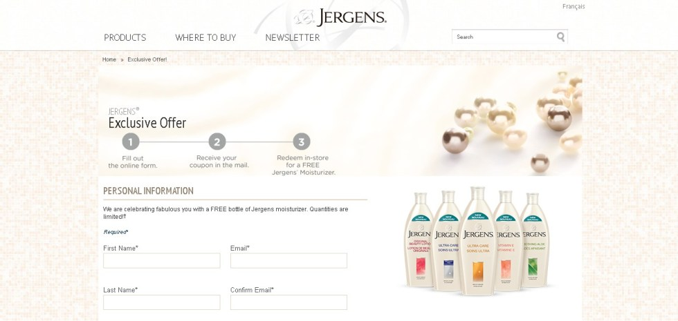FREE bottle of Jergens moisturizer