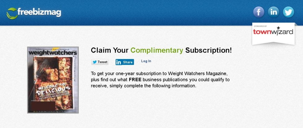 FREE one-year subscription to Weight Watchers Magazine 1