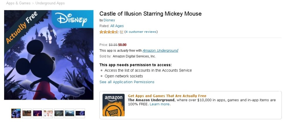 Free Android App at Amazon Castle of Illusion Starring Mickey Mouse 1